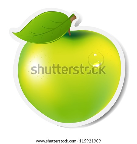 Green Apple Label, Isolated On White Background, Vector Illustration - stock vector