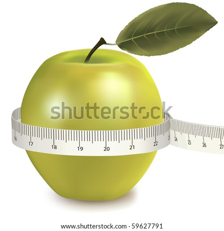 Green apple measured the meter. Vector. - stock vector