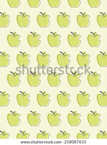Green apple pattern over cream color background  - stock vector