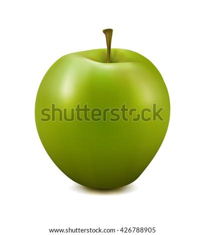 Green apple. Photo-realistic vector apple. Vector illustration of ripe green apple on white background.  - stock vector