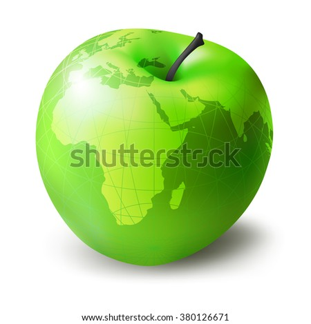 green apple, presented in the form of a globe