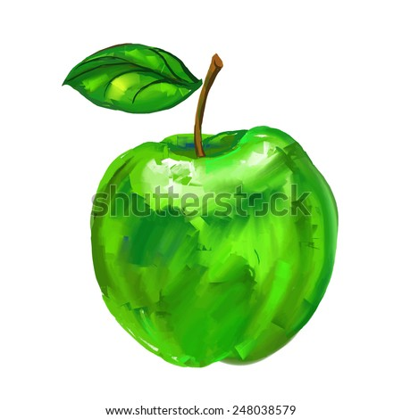 green apple Vector illustration of ink hand drawn  painted watercolor  - stock vector