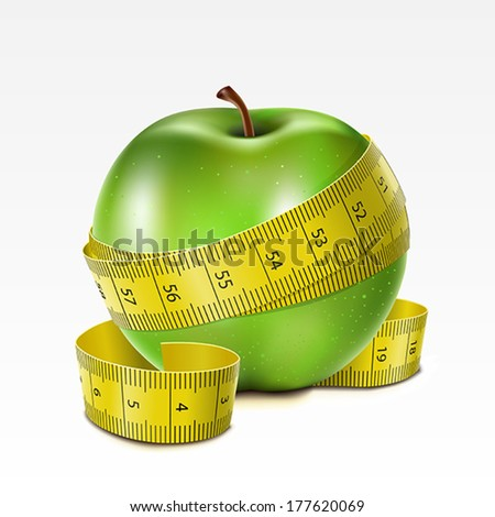Green apple with centimeter on a white background - stock vector