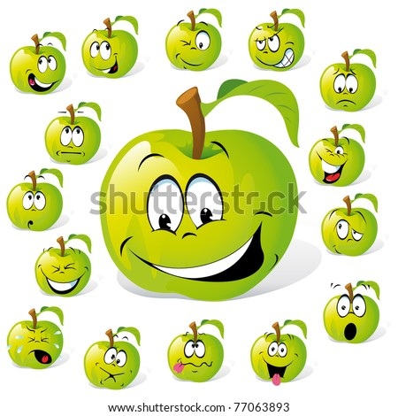green apple with many expressions - stock vector