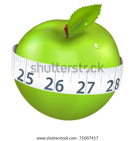 Green Apple With Measurement, Isolated On White Background, Vector Illustration - stock vector
