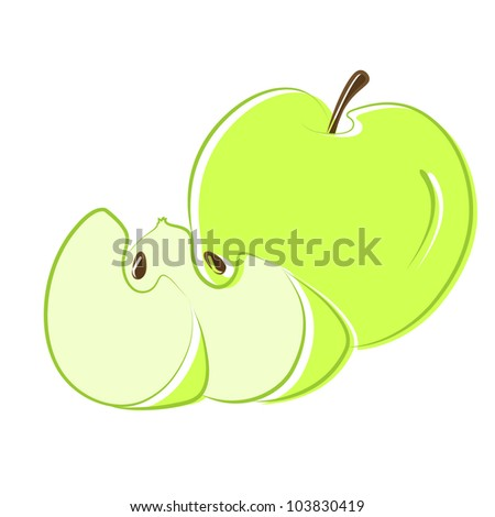 Sliced Apple Drawing Green Apple With Segments