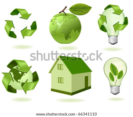 Green apple with world map and ecology icons. Vector. - stock vector