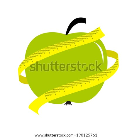 Green apple with yellow measuring tape ruler. Diet concept card. Vector illustration - stock vector