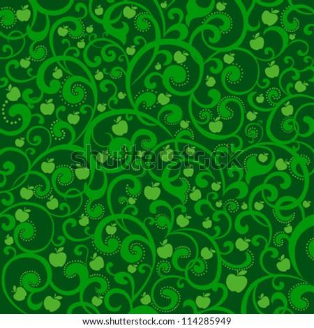 Green apples. Vector illustration. - stock vector