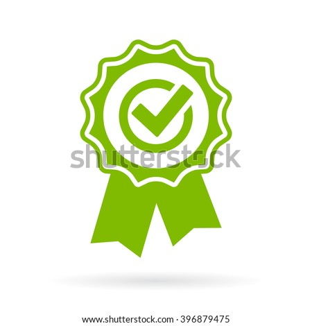 Green approval certificate vector illustration isolated on white background - stock vector