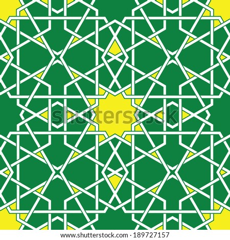 Green Arabic Byzantine seamless pattern vector illustration