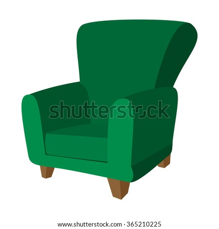 Green armchair cartoon icon on a white background - stock vector
