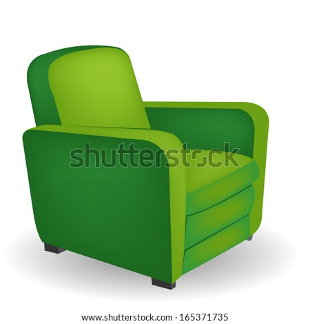 Green armchair with shadow - stock vector