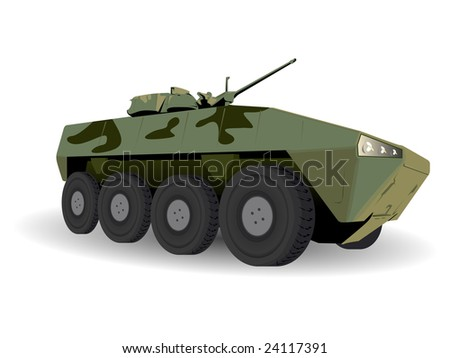 Green Armored Personnel Carrier Over White - stock vector