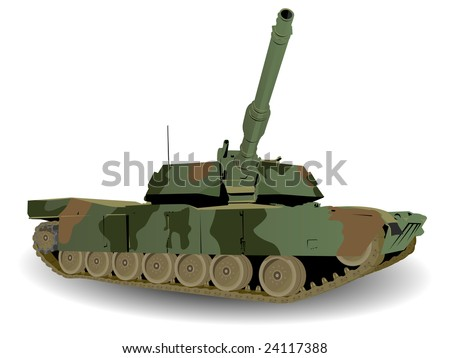 Green Army Tank Over White - stock vector