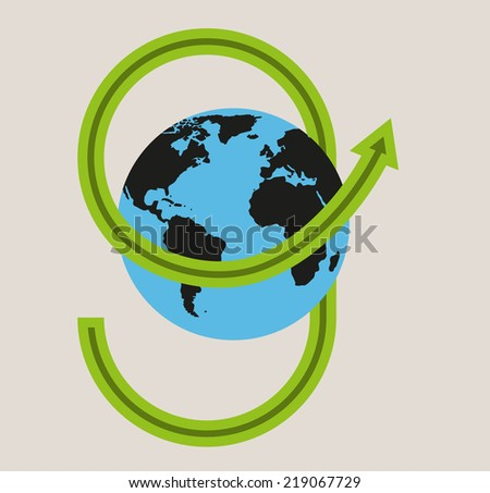green arrow and blue earth with black continents, vector