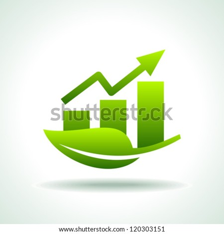 green arrow diagram chart - stock vector