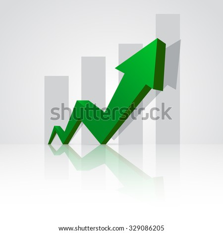 Green arrow pointing up with graph in the background. - stock vector