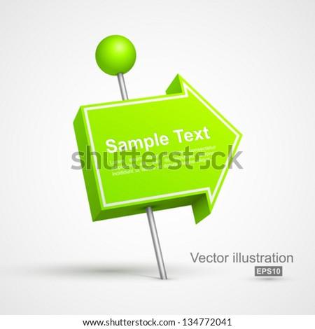 Green arrow pushpin 3D. - stock vector