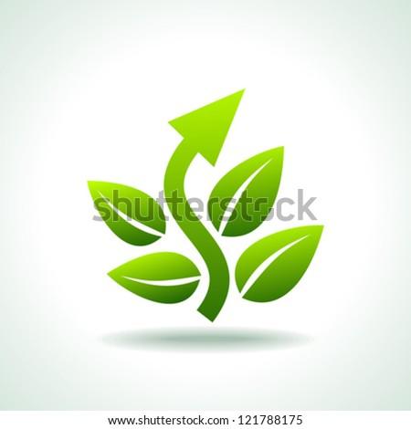 Green arrow sign - stock vector