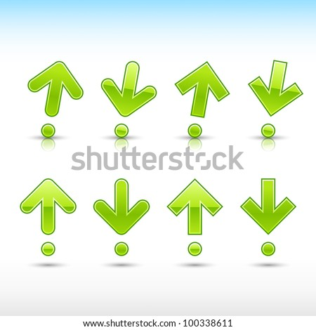 Green arrow sign in form of exclamation mark. Glossy and satined shapes with reflection on white background. Vector illustration saved in 10 eps. - stock vector
