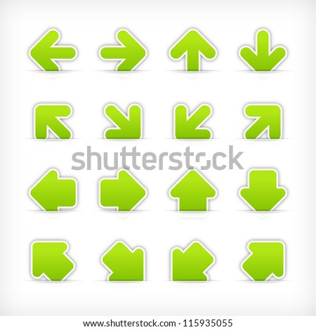 Green arrow sign sticker on cut paper pocket . Web internet button clean satin shapes with gray drop shadow on white background. Vector illustration design element saved 10 eps