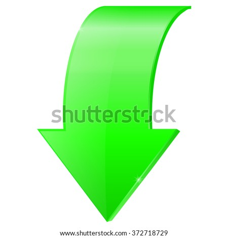 Green arrow. Vector illustration isolated on white background - stock vector