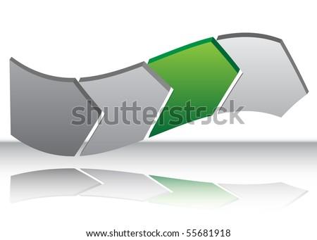 Green Arrow Warp Chart - stock vector