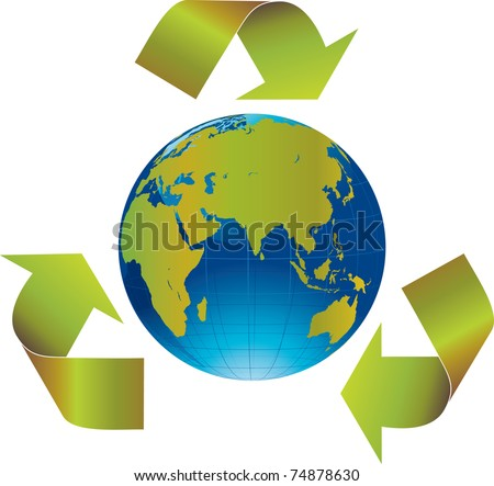 Green arrows around the world indicating recycling