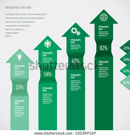 Green Arrows Infographic Background - Icons and arrows for 4 options. EPS10 vector. - stock vector