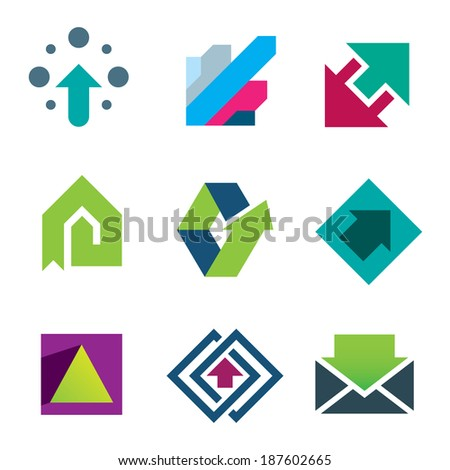 Green arrows pointing up business and life success logo icon set - stock vector