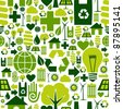 Green attitude environmental icons set seamless pattern background. - stock photo