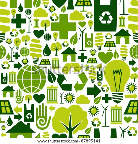 Green attitude environmental icons set seamless pattern background.