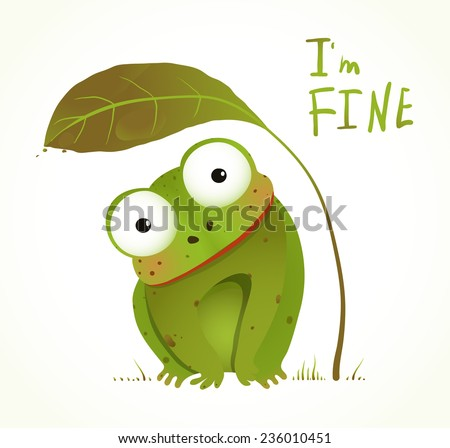 Green Baby Frog Childish Animal Fun Cartoon. Hand drawn watercolor style colorful drawing. Vector illustration EPS10. - stock vector