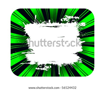 Green background and grunge white banner for copy - stock vector