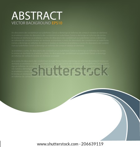 Green background earth tone with blue grey curve line on white background for text and message modern website design - stock vector