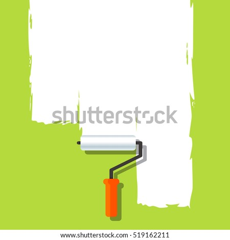Green background template with paint - vector illustration
