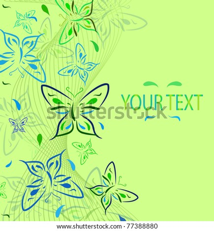 Green background with an ornament from butterflies and a place for text. Vector illustration