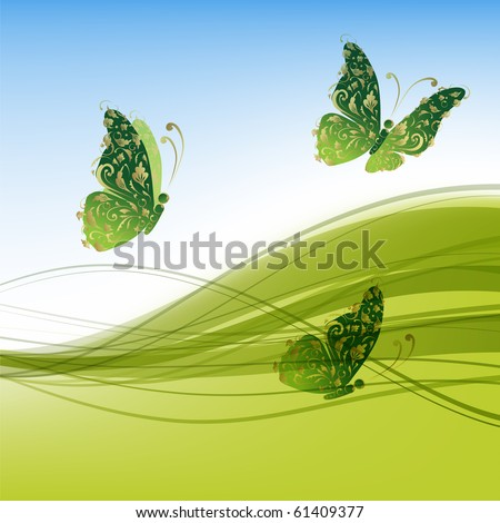 Green background with beautiful butterflies for your design - stock vector