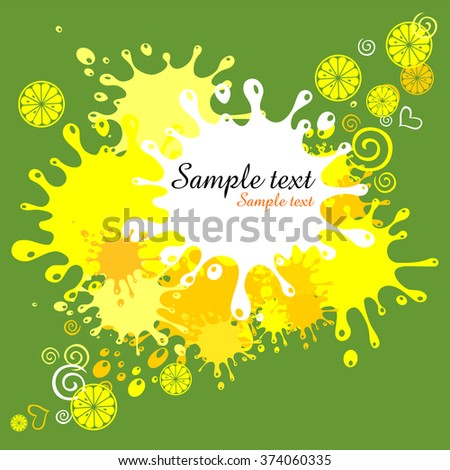 Green background with blots and lemon. Vector Illustration