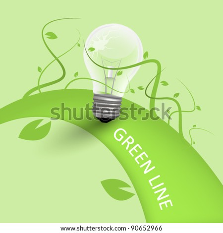 Green background with bulb - stock vector