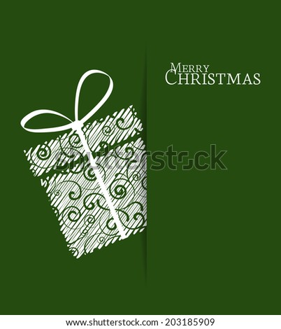 Green background with Christmas gift - stock vector