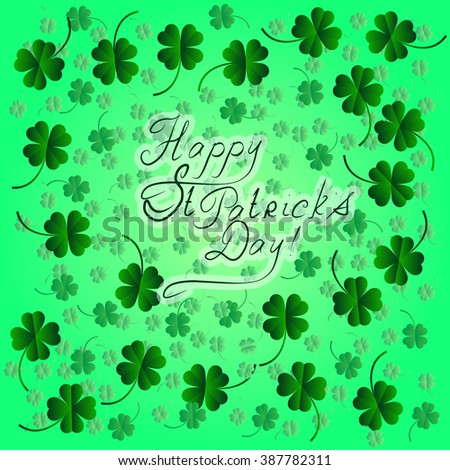 Green background with four leaf clovers, St. Patrick's Day background (vector illustration)
