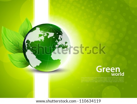 Green background with globe and leaves - stock vector