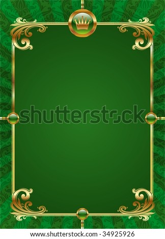 Green background with golden luxury frame - stock vector