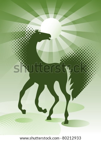 Green background with horse - stock vector