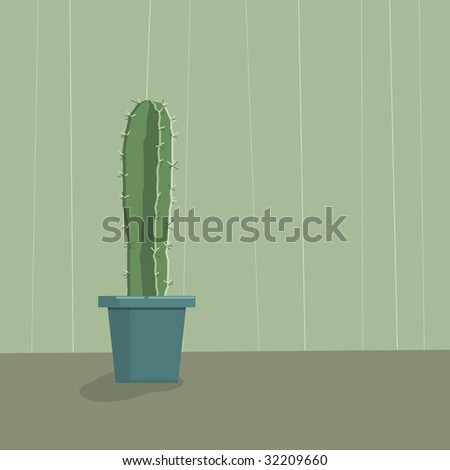 green background with potted cactus