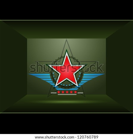 Green background with red star - stock vector
