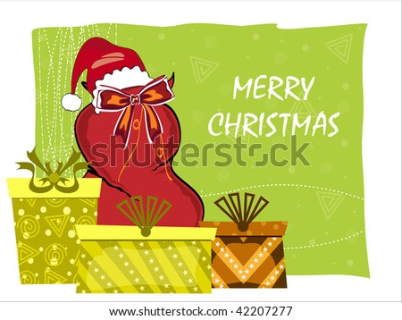green background with santa gift bag, gift box - stock vector
