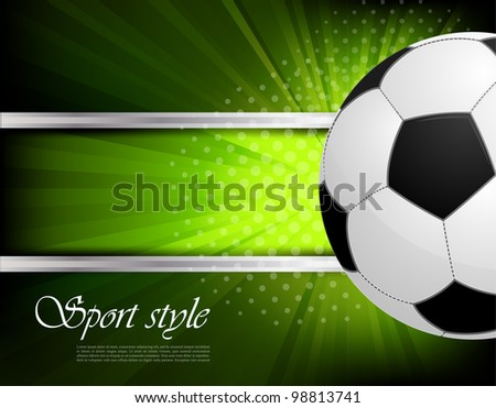 Green background with soccer ball and rays - stock vector